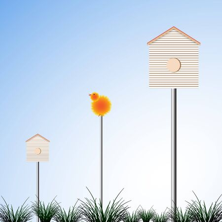 bird houses and grass Vector