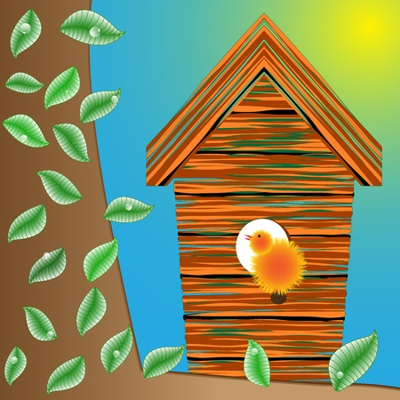 birds house on a tree, leaves and water drops Vector