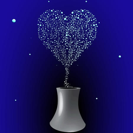 bubbling tower with hearth shape smoky bubbles