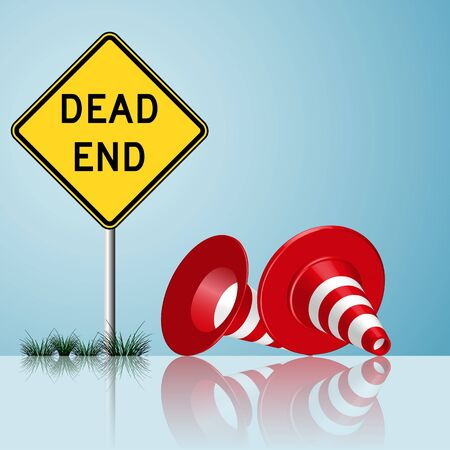 dead end sign with cones and grass reflected Vector