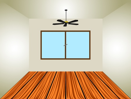 electric fan: empty room with window and lamp, abstract  art illustration