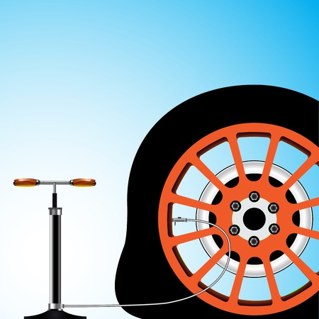 flat tyre: flat tyre Illustration