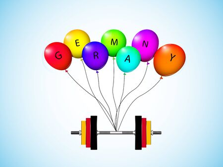 german weights pulled up by balloons over sky background