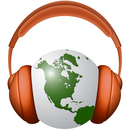 loudspeaker: headphones and earth globe against white background