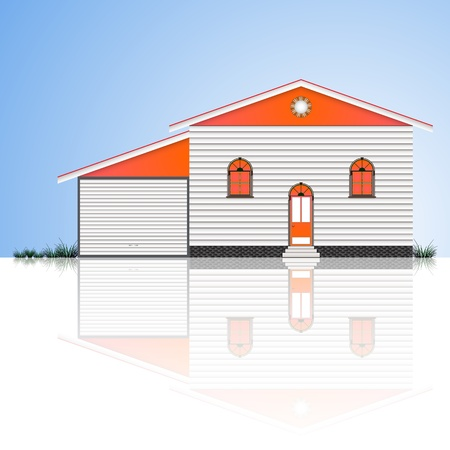 house with garage and blue sky reflected Vector