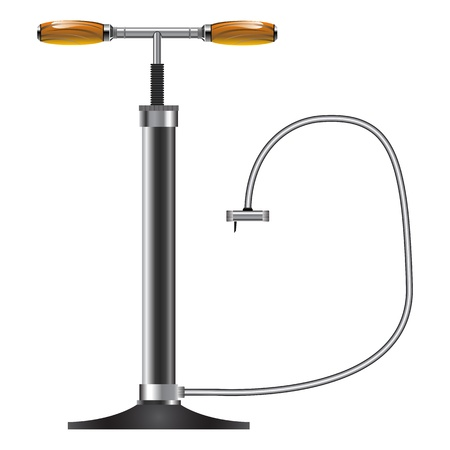 bicycle pump: manual air pump against white background