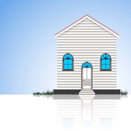 modern house and blue sky reflected Vector