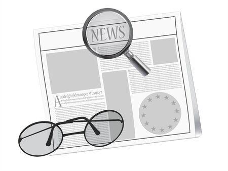 newspaper, magnifying glass  and glasses Ilustração