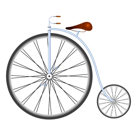 old bicycle against white background