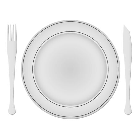 plate and dishes against white background Stock Vector - 12480878
