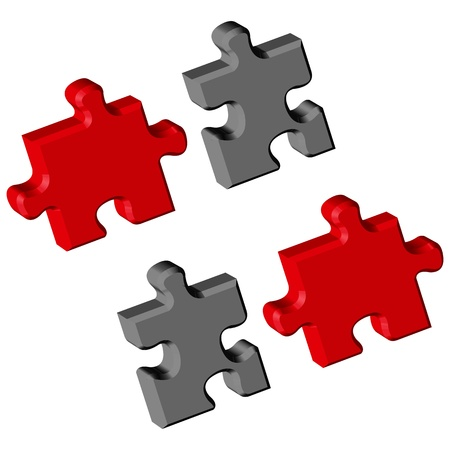 puzzle pieces over white background Illustration