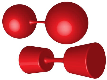 red weights against white background, abstract art illustration Vector