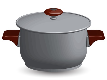 domestic kitchen: stainless steel pan against white background