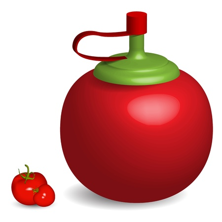 tomato sauce bottle and tomatoes against white background Vector