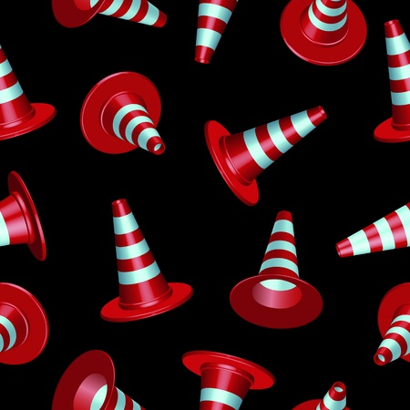 traffic cones with round base pattern against black background Vector