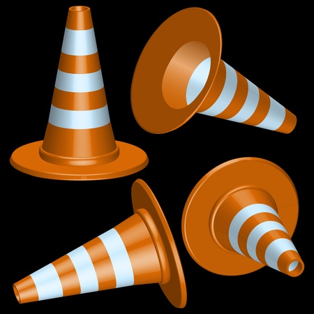 traffic cones with round base against black background