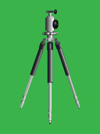 tripod for camera against green background Vectores