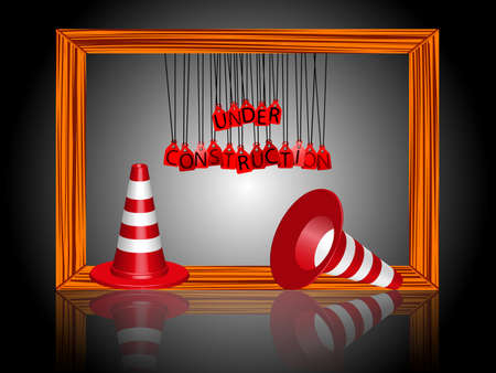 under construction cones and frame reflected Vector