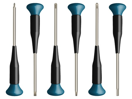 various screw drivers set against white background