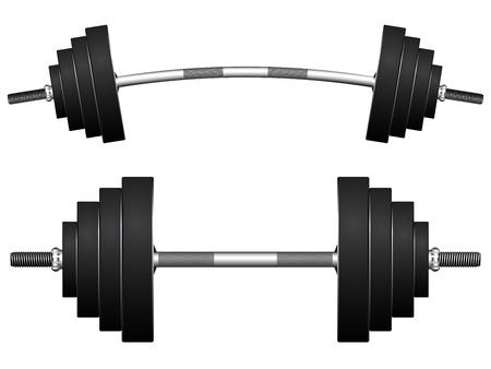 levantamiento de pesas: pesos contra el fondo blanco Vectores