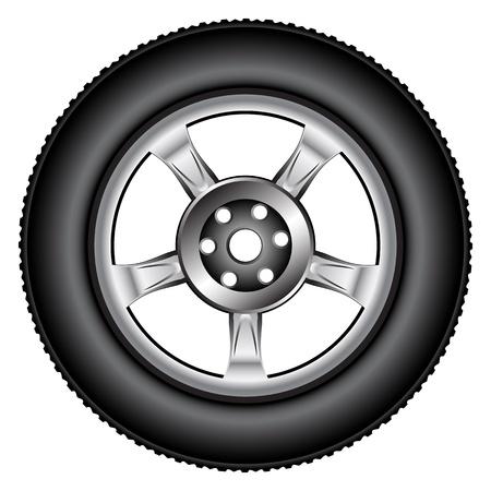 aluminum wheels: aleaci�n de neum�tico de la rueda contra el fondo blanco