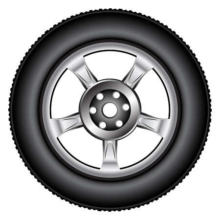 alloy wheel tyre against white background