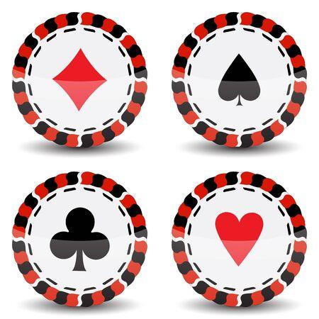 fichas de casino contra el fondo blanco Ilustración de vector