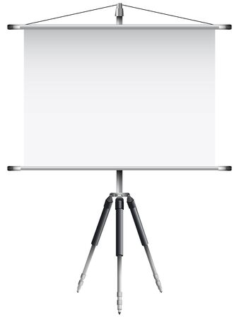 roller screen with tripod against white background Vector