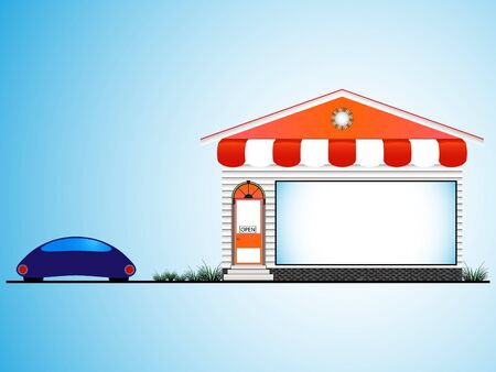 forepart: shop house and car Illustration