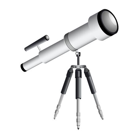 telescope on tripod against white background Vector