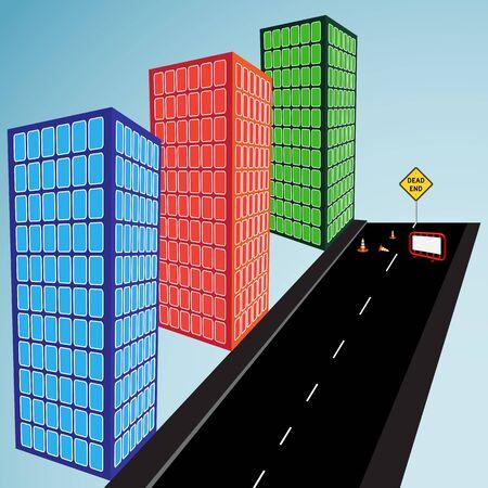 3d buildings and dead end street, abstract vector art illustration Illusztráció