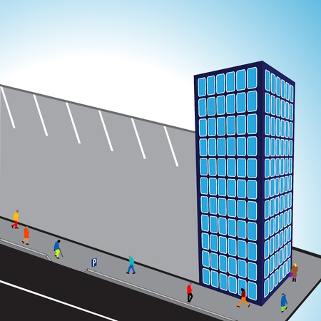 3d flats building with parking and sky background, abstract vector art illustration Illustration