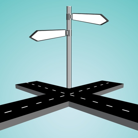 right choice: 3d intersection against blue sky background, abstract vector art illustration