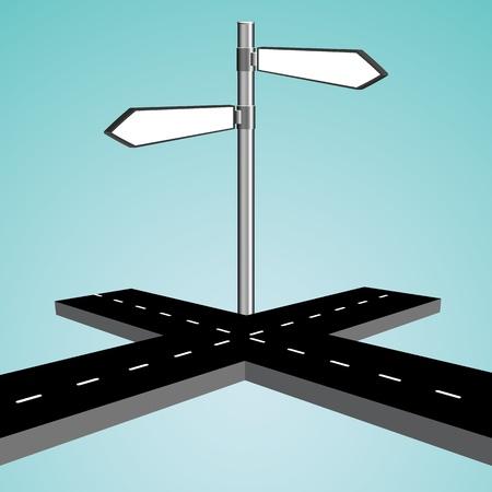cruce de caminos: Intersecci�n 3D contra el cielo azul de fondo, ilustraci�n vectorial abstracto del arte