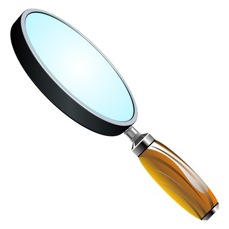 3d magnifying glass against white background, abstract vector art illustration Stock Vector - 13435070