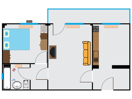 appartment sketch against white background, abstract vector art illustration Vectores