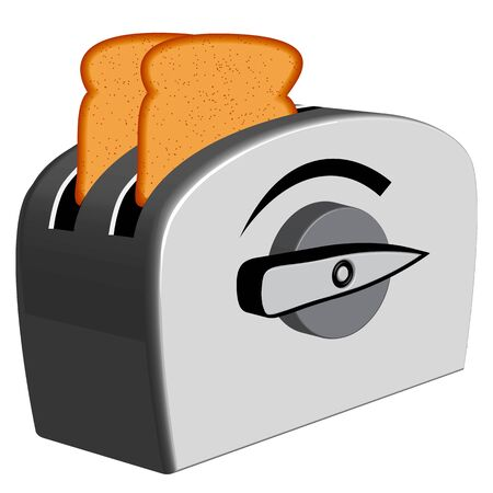 bread toaster against white background, abstract vector art illustration