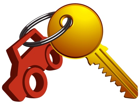 yale: car and key on the same ring against white background, abstract vector art illustration Illustration