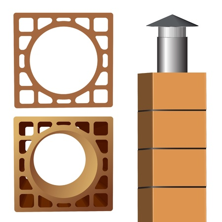 chimney brick and pipe end metallic cover, abstract vector art illustration