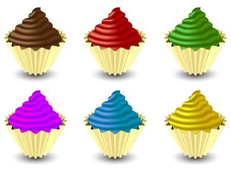 cupcakes tegen een witte achtergrond, abstracte vector kunst illustratie; beeld bevat verloopnet Stock Illustratie