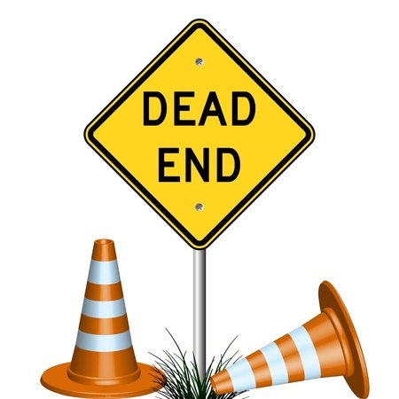 end of road: dead end sign with cones and grass, abstract vector art illustration