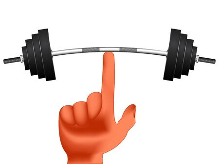 finger holding weights against white background, abstract vector art illustration; image contains gradient mesh Illustration