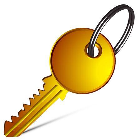 golden key against white background, abstract vector art illustration Stock Vector - 13435117