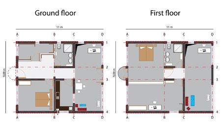 家の設計の青写真、グランドフロアーと 1 階;抽象的なベクトル アート イラスト