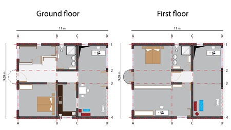 first floor: home design blueprint, ground and first floor; abstract vector art illustration Illustration