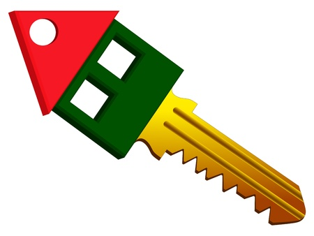 patent key: house shape key against white background, abstract vector art illustration Illustration