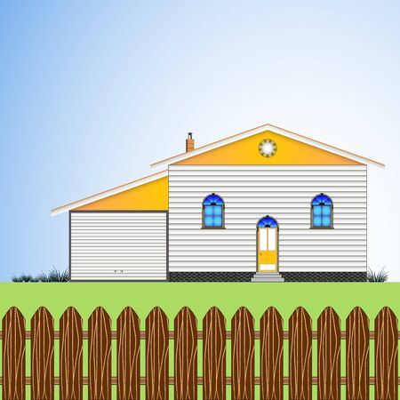 house with yard garage and blue sky, abstract vector art illustration; image contains transparency