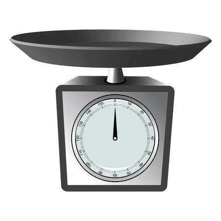 kilograms: kitchen scale against white background, abstract vector art illustration Illustration