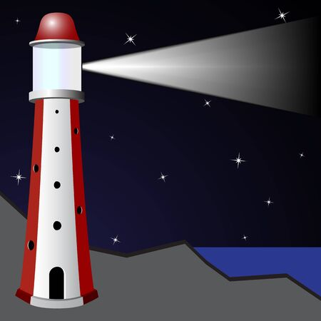 cliff edge: lighthouse in the night, abstract vector art illustration