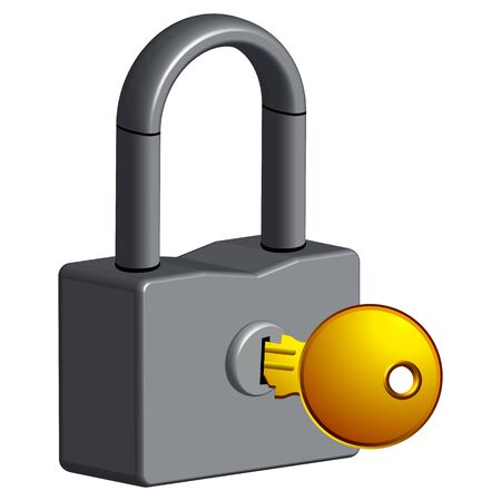 locked and key against white background, abstract vector art illustrator Vector